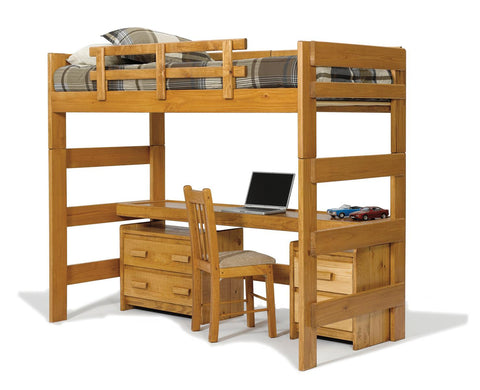 Chelsea Home Twin Loft Bed with Desk Top-Honey