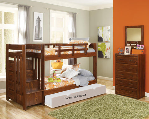 Chelsea Home Twin Over Twin Bunk Bed with reversible staircase-Dark