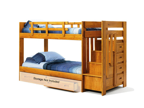 Chelsea Home Twin Over Twin Bunk Bed with Reversible Staircase-Honey