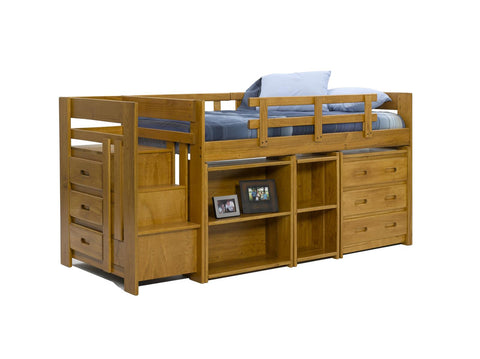 Chelsea Home Twin Mini Loft Bed with Storage-Honey