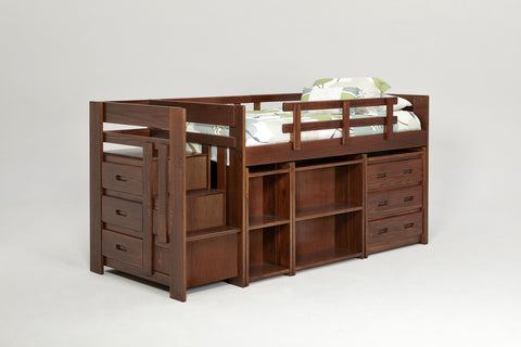 Chelsea Home Twin Mini Loft Bed with Storage-Dark