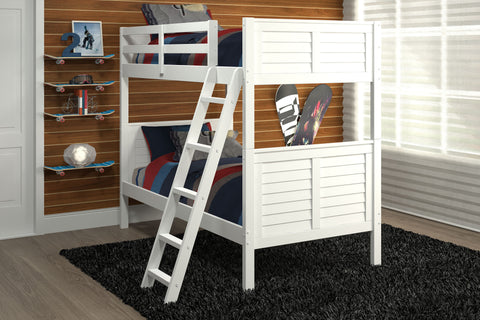 Chelsea Home Louver Twin Over Twin Bunk Bed- White