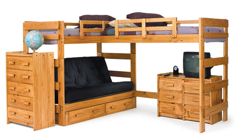 Chelsea Home L Shaped Futon Loft Bed with Underbed Storage- Honey