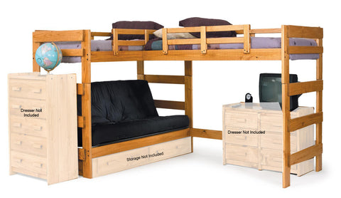 Chelsea Home L Shaped Futon Loft Bed - Honey