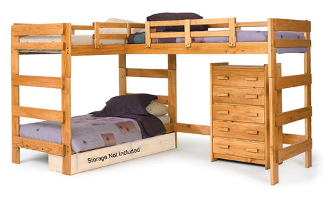 Chelsea Home L Shaped Loft Bed in Honey
