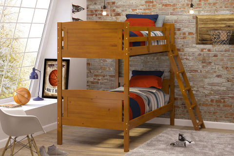 Chelsea Home Twin Over Twin Bunk Bed with Ladder-Honey