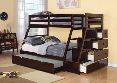 Acme Jason Twin over Full Bunk Bed w/Storage Staircase and Trundle in Espresso-37015