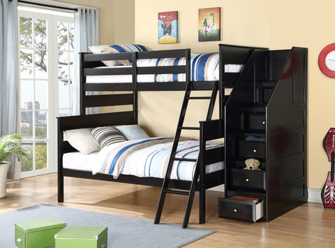 Acme Alvis Twin over Full Bunk Bed in Black Finish-37365
