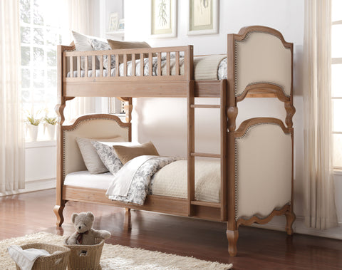 Acme Charlton Twin over Twin Bunk Bed in Salvage Oak/Cream LInen Finish-37650