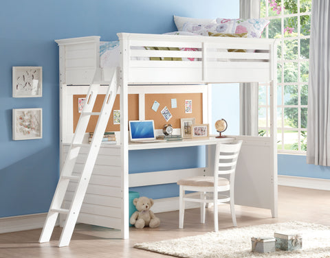Acme Lacey Twin Loft Bed w/Desk in White Finish-37670