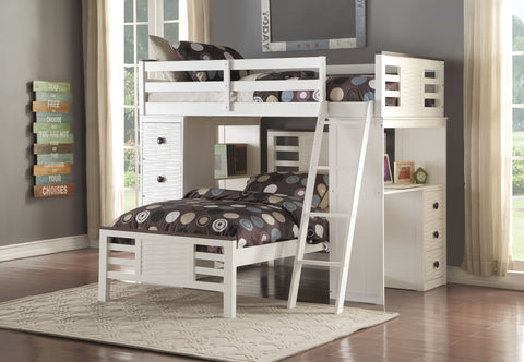 Acme Florrie Twin Loft Bed w/Desk in White/Espresso Finish-37740