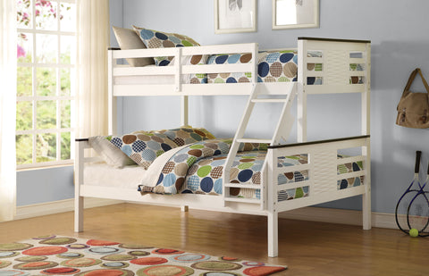 Acme Florrie Twin over Full Bunk Bed in White/Espresso Finish-37750