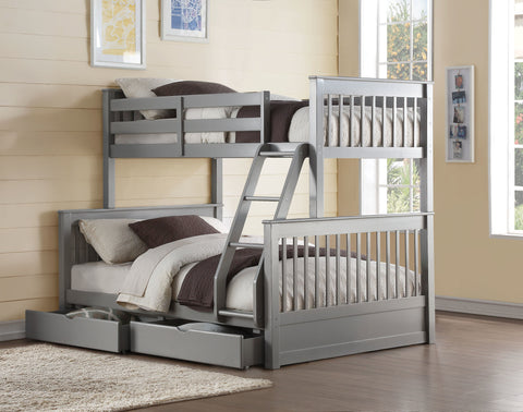 Acme Haley 2 Twin over Full Bunk Bed in FRENCH GRAY FINISH-37755