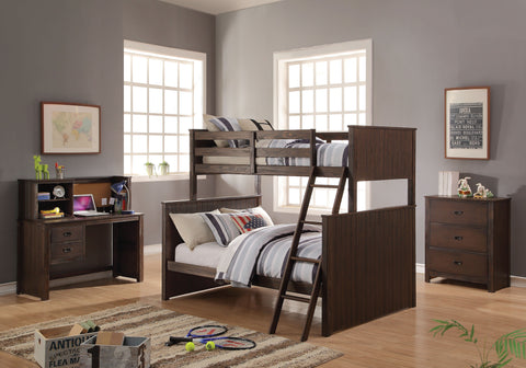 Acme Hector Twin over Full Bunk Bed in Antique Charcoal Brown Finish-38020