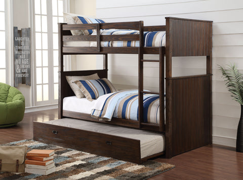 Acme Hector Twin over Twin Bunk Bed in Antique Charcoal Brown Finish-38025