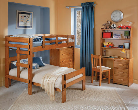 Chelsea Home L Shaped Twin Over Twin Bunk Bed with 4 Drawer Chest-Honey