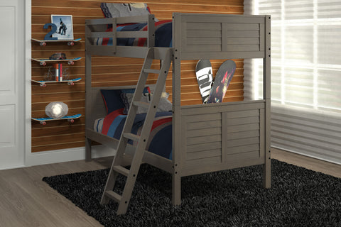 Chelsea Home Louver Twin Over Twin Bunk Bed-Grey