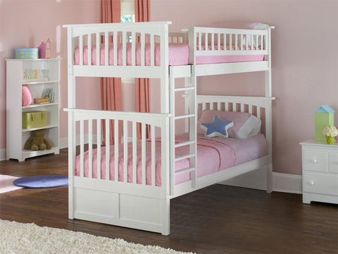 Atlantic Columbia Bunk Bed Twin over Twin in White-AB55102