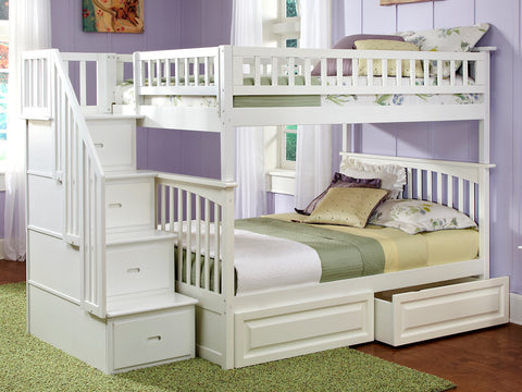 Atlantic Columbia Staircase Bunk Bed Full over Full with Raised Panel Bed Drawers in White-AB55822