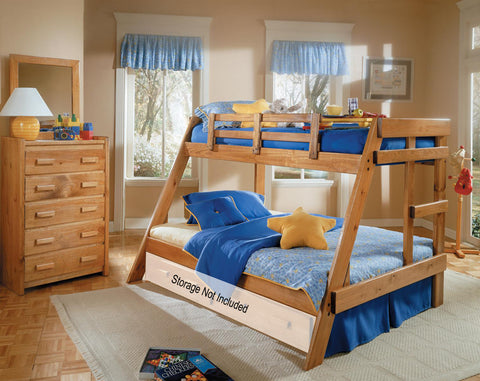 Chelsea Home Twin Over Full A Frame Bunk Bed- Honey