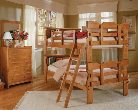 Chelsea Home Bookcase Scalloped Twin Over Twin Bunk Bed-Honey