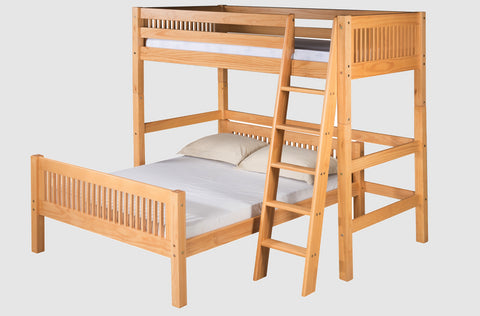 Camaflexi Twin over Full Loft Bed-L Shape-Natural Finish
