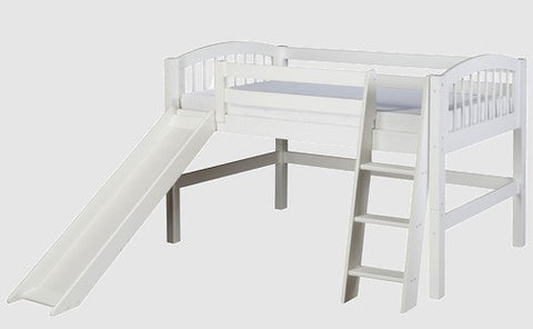 Camaflexi Twin Low Loft Bed with Slide - White Finish