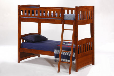Night and Day Twin over Twin Cinnamon Bunk bed in cherry finish