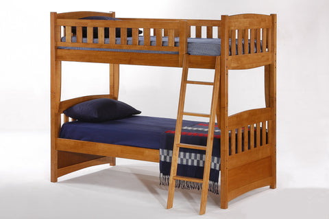 Twin over Twin Cinnamon Bunk bed- Medium Oak