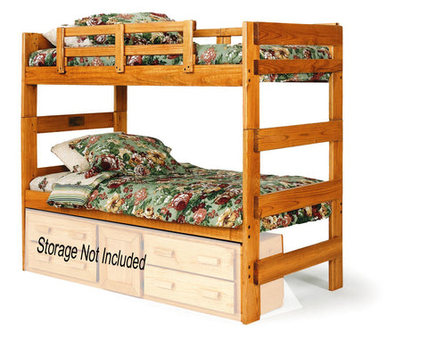 Chelsea Home Extra Tall Twin Over Twin Bunk Bed in Honey