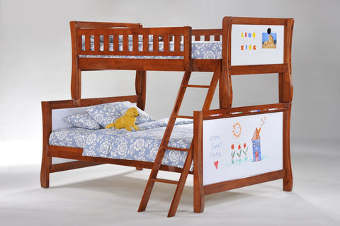 Night and Day Scribbles Twin over Full Bunk bed- Cherry