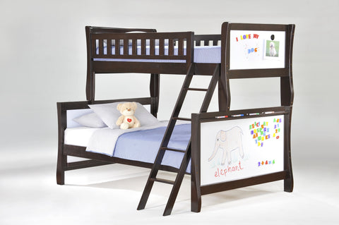 Night and Day Scribbles Twin over Full Bunk bed- Chocolate