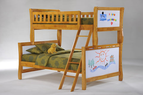 Night and Day Scribbles Twin over Full Bunk bed- Medium Oak