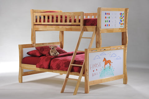 Night and Day Scribbles Twin over Full Bunk bed- Natural