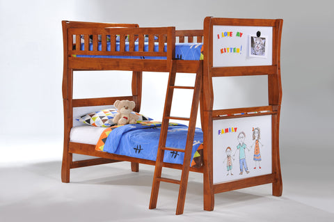 Night and Day Scribbles Twin over Twin Bunk Bed -Cherry