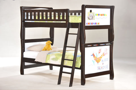 Night and Day Scribbles Twin over Twin Bunk Bed -Chocolate