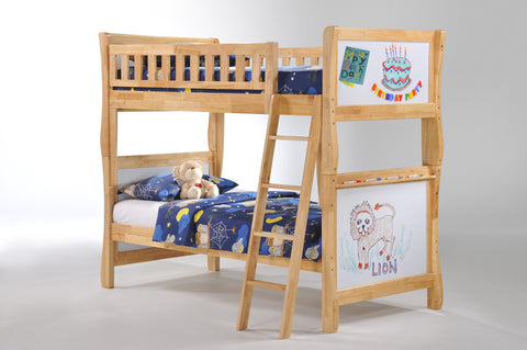 Night and Day Scribbles Twin over Twin Bunk Bed -Natural