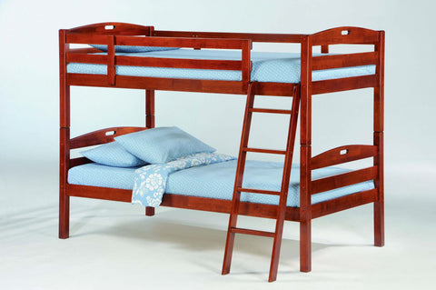 Night and Day Sesame Twin over Twin Bunk Bed-Cherry