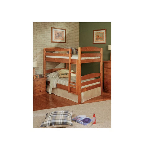 Chelsea Home Square Post Twin Over Twin Bunk Bed in Honey
