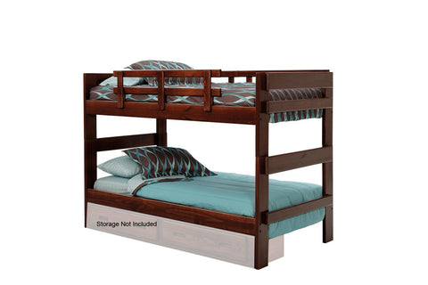 Chelsea Home Stacking Twin Over Twin Bunk Bed-Dark