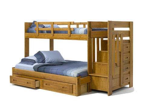 Chelsea Home Twin Over Full Bunk Bed with Stairway Chest and Underbed Storage-Honey