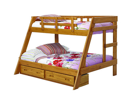 Chelsea Home Twin Over Full A Frame Bunk Bed with Underbed Storage-Honey