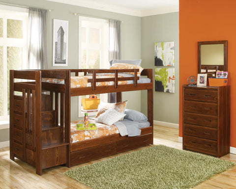 Chelsea Home Twin Over Twin Bunk Bed with Reversible Staircase and Underbed Storage-Dark