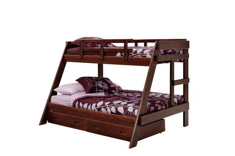Chelsea Home Twin Over Full A Frame Bunk Bed with Underbed Storage - Dark