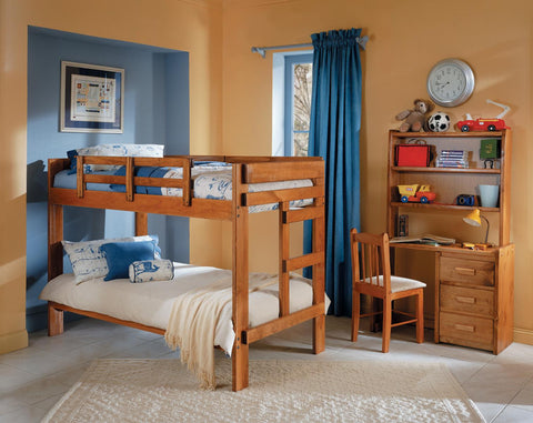Chelsea Home Twin Over Twin Bunk Bed in Honey