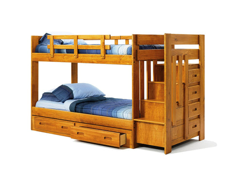 Chelsea Home Twin Over Twin Bunk Bed -Reversible Staircase-Underbed Storage-Honey