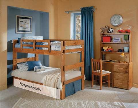 Chelsea Home Split Twin Over Twin Bunk Bed in Honey