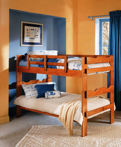 Chelsea Home Split Scalloped Twin Over Twin Bunk Bed in Honey