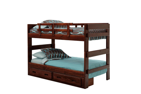 Chelsea Home Stacking Twin Over Twin Bunk Bed with Underbed Storage-Dark