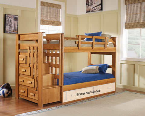 Chelsea Home Twin Over Twin Bunk bed with stairway in Honey